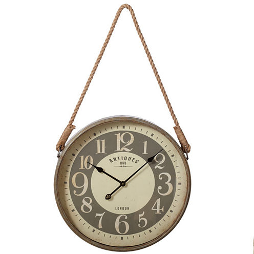 Round Wall Clock with Rope Hanger