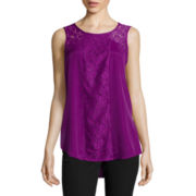 Worthington® Sleeveless High-Low Lace Inset Top