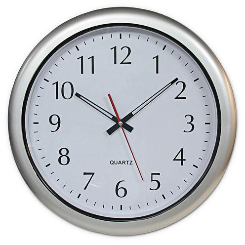 """Poolmaster® 16"""" Outdoor Clock - Silver"""