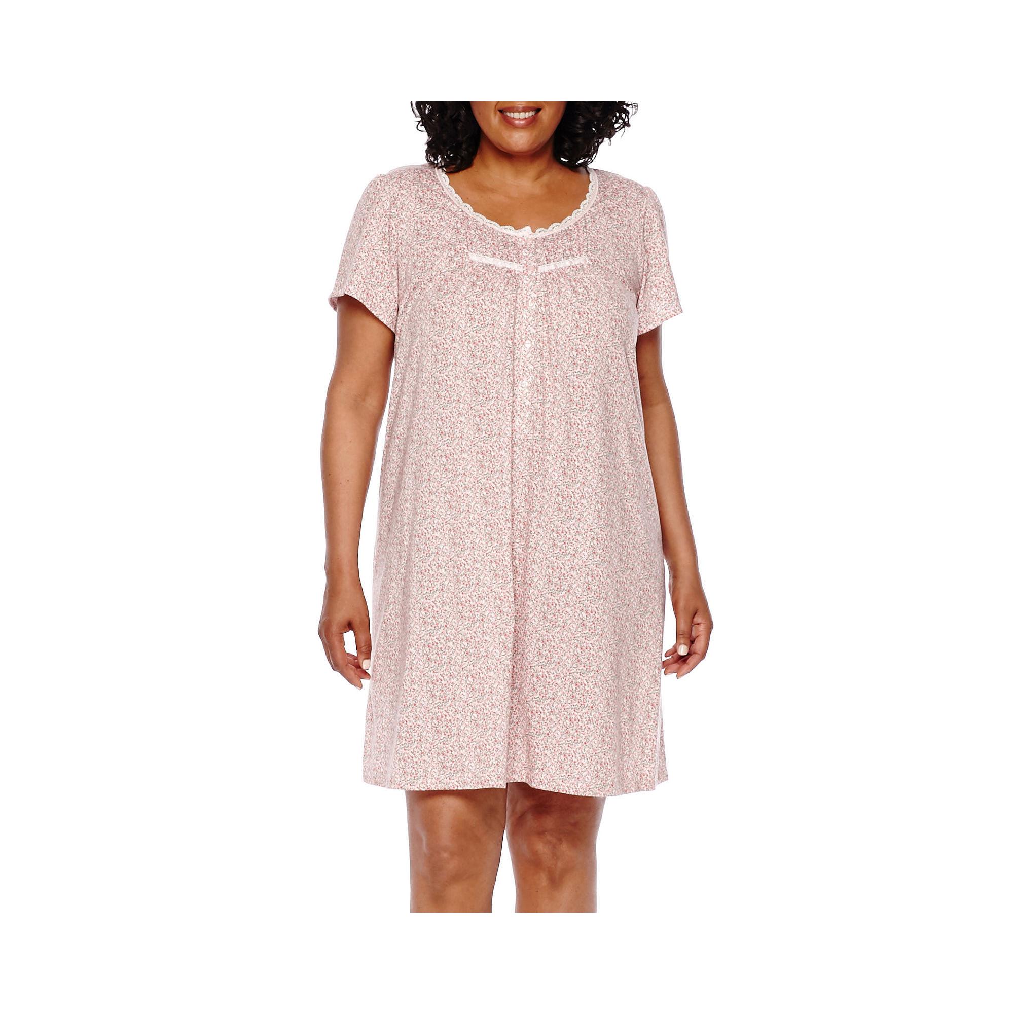 Adonna Short-Sleeve Knit Nightgown - Plus plus size,  plus size fashion plus size appare