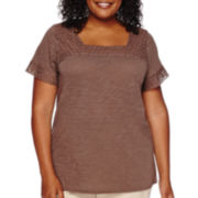 St. John's Bay® Short-Sleeve Crochet-Yoke Knit Blouse - Plus