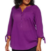 St. John's Bay® 3/4-Sleeve Gauze Tunic - Plus