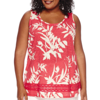 jcpenney.com | St. John's Bay® Short-Sleeve Crochet Tank Top - Plus