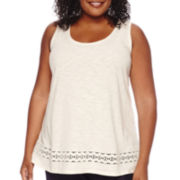 St. John's Bay® Short-Sleeve Crochet Tank Top - Plus