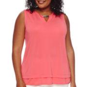 Liz Claiborne® Metal-Detail Knit Tank Top