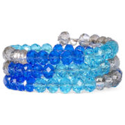 Blue & Clear Glass Bead Coil Bracelet