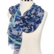 Olsenboye® Camouflage Print Striped Scarf