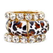 Mixit™ Leopard & Rhinestone Stackable 3-pc. Stretch Ring Set