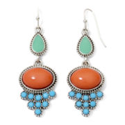 Decree® Silver-Tone Orange and Blue Drop Earrings