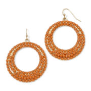 Decree® Gold-Tone Orange Circle Earrings