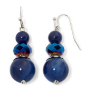 Mixit™ Silver-Tone Navy Drop Earrings