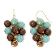 Mixit™ Gold-Tone Aqua and Brown Cluster Earrings