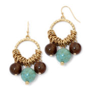 Mixit™ Gold-Tone Aqua and Brown Bead Earrings