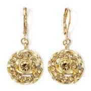 Monet® Gold-Tone Brown Drop Earrings