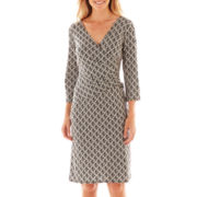Black Label by Evan-Picone 3/4-Sleeve Side-Tie Dress