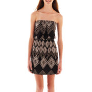 Trixxi® Strapless Belted Print Dress