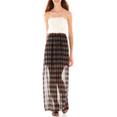 jcpenney.com | City Triangles® Strapless Belted Lace Print Maxi Dress