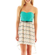 City Triangles® Strapless Belted Chevron Print High-Low Dress