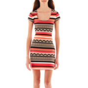 by&by® Cap-Sleeve Print Knit Dress