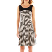 Robbie Bee® Sleeveless Striped Panel Dress