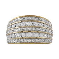1 CT. T.W. Diamond Two-Tone 10K Gold 5-Row Ring