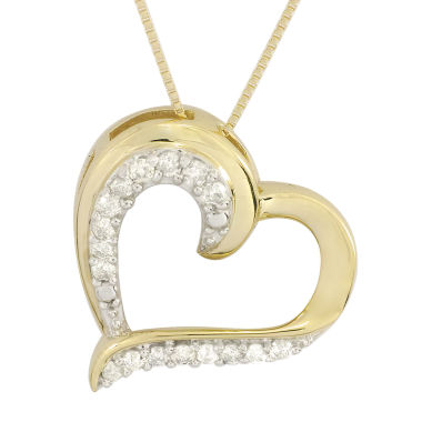 jcpenney.com | 1/4 CT. T.W. Diamond 10K Yellow Gold Heart Pendant Necklace