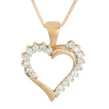 jcpenney.com | 1/4 CT. T.W. Diamond 10K Rose Gold Heart Pendant Necklace