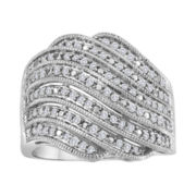 1/2 CT. T.W. Diamond Sterling Silver Wave Statement Ring