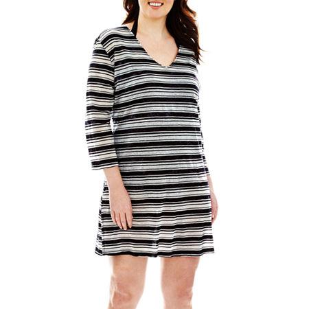 Porto Cruz 3/4-Sleeve Striped Cover-Up Tunic - Plus