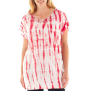 By Artisan Short-Sleeve Tie-Dyed Beaded Tee - Plus
