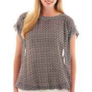 a.n.a® Tab-Sleeve Woven Banded Top - Plus