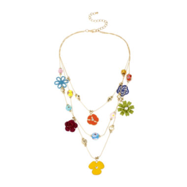 jcpenney.com | Mixit™ Multicolor Flower 3-Row Illusion Necklace