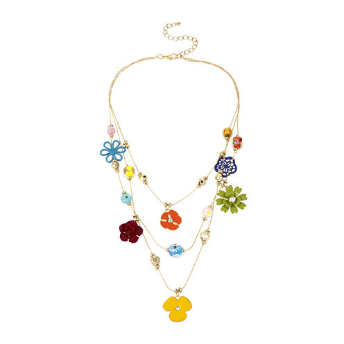 Mixit™ Multicolor Flower 3-Row Illusion Necklace