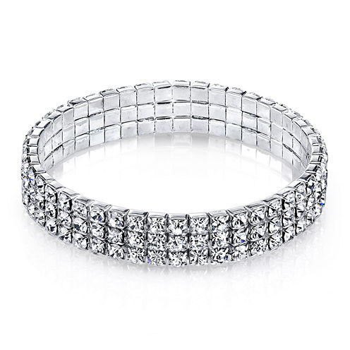 1928® Jewelry Crystal Silver-Tone 3-Row Stretch Bracelet