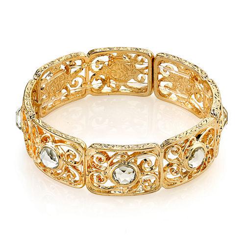 1928® Jewelry Crystal Gold-Tone Stretch Bracelet