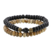 Dee Berkley Mens Genuine Black Agate, Jasper and Dyed Magnesite Stretch Bracelets