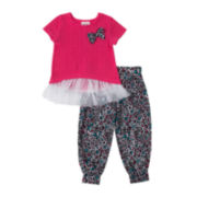 Little Lass Bow Tee and Jogger Pants Set - Toddler Girls 2t-4t