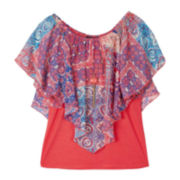 by&by Girl Popover Top and Necklace - Girls 7-16