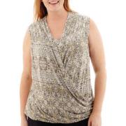 Liz Claiborne® Crossover Faux-Wrap Tank Top - Plus