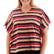 Liz Claiborne® Poncho-Sleeve V-Neck Scarf Print Top - Plus
