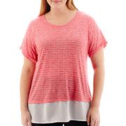 Liz Claiborne® Short-Sleeve Dual-Texture Slub T-Shirt - Plus