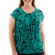 Liz Claiborne® Sleeveless Pleat-Neck Top - Plus