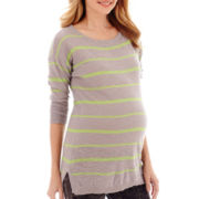 Maternity 3/4-Sleeve Neon Striped Shirttail Tunic