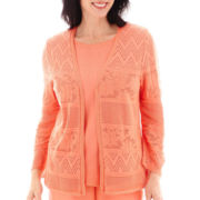 Alfred Dunner® 3/4-Sleeve Pointelle Cardigan