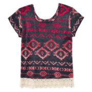 Arizona Crochet-Hem Top - Girls 7-16 and Plus