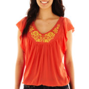 Unity® Flutter-Sleeve V-Neck Top - Petite