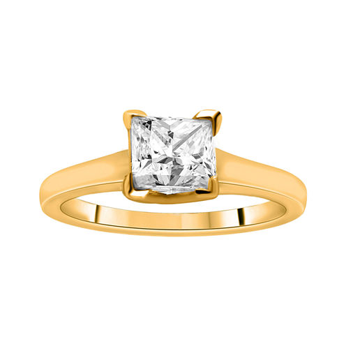 1¼ CT. Princess Certified Diamond Solitaire 14K Yellow Gold Ring