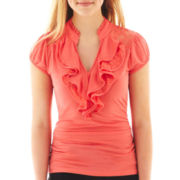 Heart & Soul® Lace-Inset Ruffled Top
