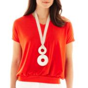 Worthington® Short-Sleeve Necklace Top