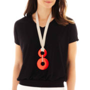 Worthington® Short-Sleeve Necklace Top - Petite